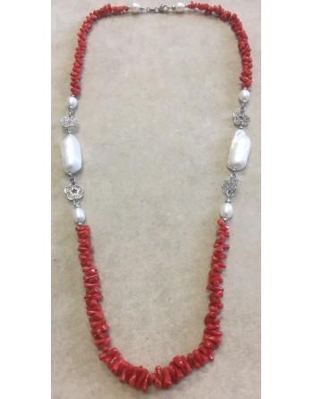 Collana corallo e perle